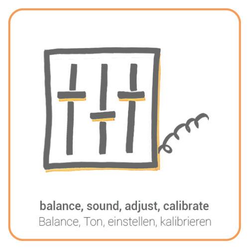 balance, sound, adjust, calibrate