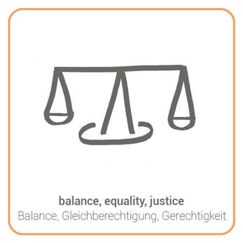 balance, equality, justice