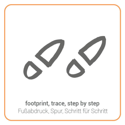 footprint, trace, step by step