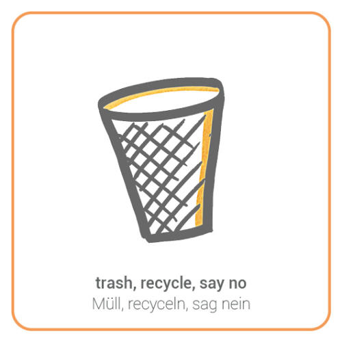 trash, recycle, say no