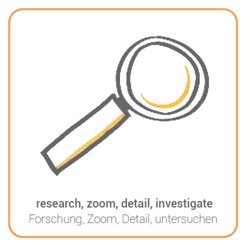 research, zoom, detail, investigate