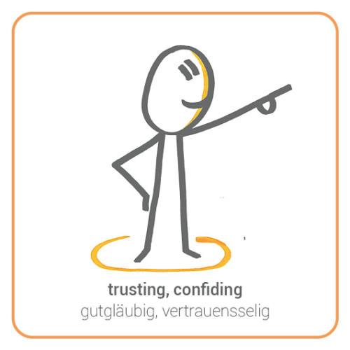 trusting, confiding
