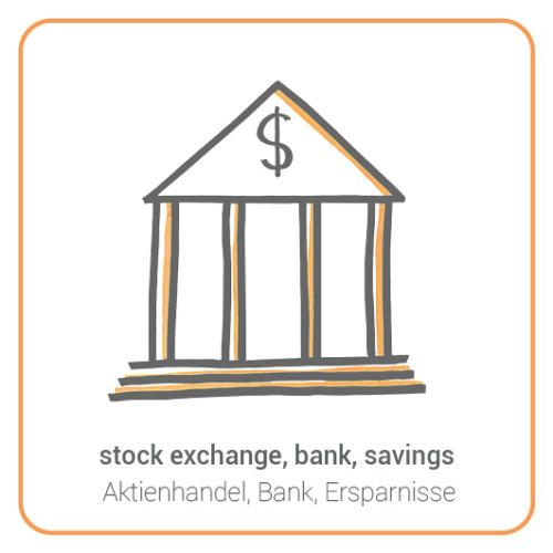 stock exchange, bank, savings