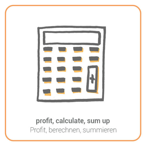 profit, calculate, sum up